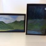 """Original Acrylic Art"" By Lizet Gunter ""Harmony"" (Left) ""Twilight"" (Right) Framed Approximately 6 1/4"" X 9 1/4"" Framed at $58.00 Each"