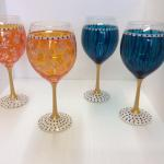 """Mardi Gras"" Hand-Painted Wine Glasses Approximately 8 1/2"" Tall Set of two glasses $38.00. Hand-Wash Only."