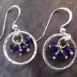 """Charm"" Hand-Crafted Jewelry Delicate Hand-Hammered Sterling Silver Rings with Amethyst Gemstone Clusters Approximately 1/2"" Length  Earrings $33.00"